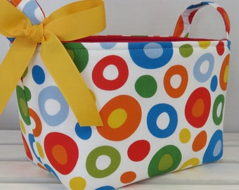 Fabric Organizer Storage Container Bin Basket Decor - Multi Color Circles/ Dots fabric for the Outside