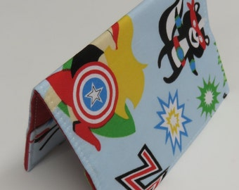 Sale / Clearance - READY TO SHIP - Passport Holder Cover Case Cruise Holiday Travel Holder - Fun Super Heros Fabric