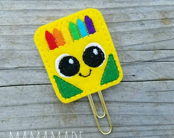 Crayon Box Feltie - Planner Clip, Magnet or Hairclip (bookmark, planner or journal clip)