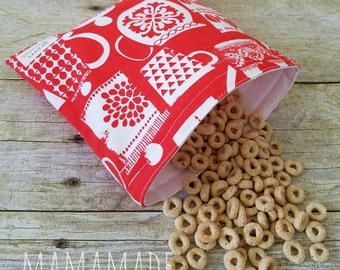 Canisters on Red - Medium Reusable Sandwich Bag from green by mamamade