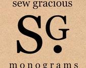 CUSTOM LISTING for Ellen: 2 monogram pillow covers, custom sized to clients specs