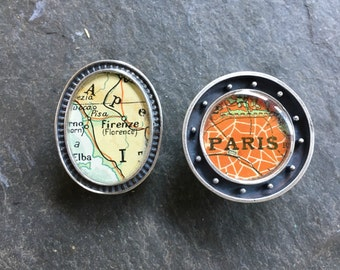 Map Brooch or Lapel Pin Custom  Sterling Silver  Vintage Cartography  Personalized Atlas Choice Man or Woman Best Man Groom Free Shipping