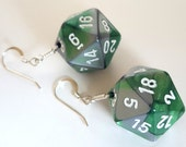 D20 Twenty Sided Dice Earrings - Green and Silver Swirl with White Numbers - Geeky Gamer Jewelry