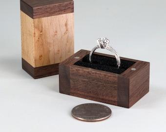 Engagement Ring Box, Wedding Ring Box, Walnut Ring Box, Birds Eye Maple Ring Box, Single Ring Box, Double Ring Box