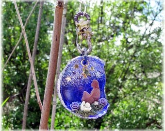 The Dreamer Mixed Media Assemblage Pendant Necklace Bromo Seltzer Glass Altered Art Found Object Collage One of a Kind Cobalt Shabby