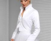 Satin Padded Bridal Bolero with Faux Fur Collar, Satin Wedding Jacket