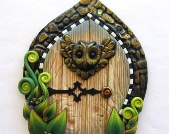 Wise Owl Fairy Door, Pixie Portal, Fairy Garden Decor, Miniature Polymer Clay Door