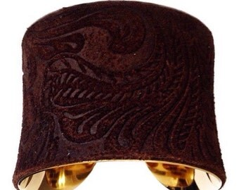 Chocolate Brown Embossed Floral Suede Cuff Bracelet  in Gold - by UNEARTHED