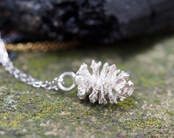 Sterling Silver Adler Cone Pendant, Cast From a Real Adler Cone, Nature Jewellery