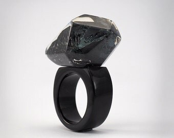 Martite Ring, Classic Clear and Black Resin with Martite