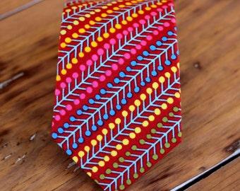 Mens red party necktie - preppy men's necktie - multi red striped tie - bright colorful necktie - modern funky necktie - birthday gift