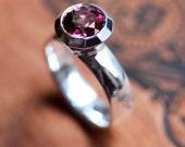 Special listing for R: Rhodolite garnet ring, modern bezel gemstone ring, cocktail ring, custom