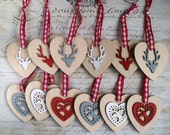 Red, white and grey rustic natural wood heart reindeer Christmas ornaments modern decorations set of 12