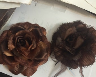 Brown Large Silk and Mesh Flowers w/ Clip, Brooch Pin and Ponyholder