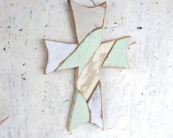 Mint Green Mosaic Cross, Reclaimed Wood Cross, Christian Decor, Distressed Cross Religious Wall Art Wooden Wall Cross, Rustic Cross