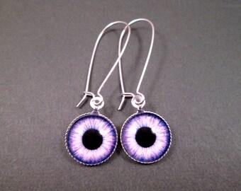 Eye See You, Eyeball Earrings, Purple and Black, Silver Dangle Earrings, FREE Shipping U.S.