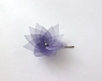 Pick 1 Organza Flower Hair Pin, Baby Snap Clip