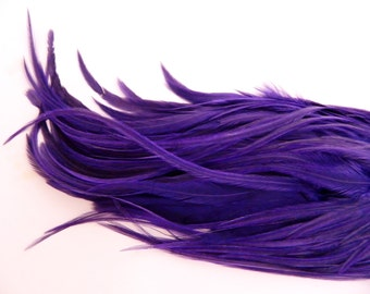 6 PURPLE Hair Feathers, Thick Feather Hair Extension, 7 to 9 Inches Long