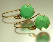 Vintage/ estate jewelry brass finish and green/ turquoise rhinestone/ paste earrings - jewellery