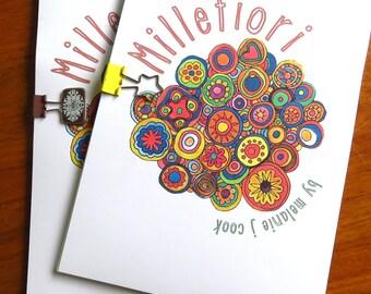 Millefiori, colouring book, download pdf, original art  drawings by melanie j cook