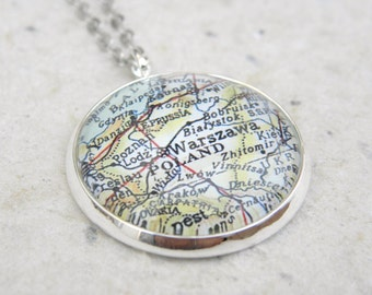 Poland Map Necklace - Featuring Warsaw, Krakow, Danzig, and More - Custom Map Jewelry - Great Mothers Day Gift - Family Heritage Geneaology