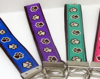 Paw Prints on Chocolate Brown Webbing, Green, Blue, Pink and Purple Wrislet Keyfob/Keychain