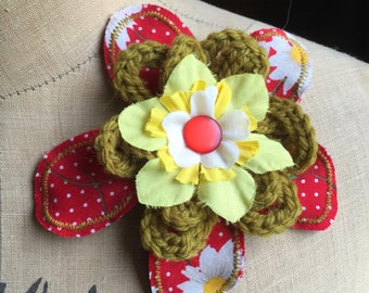 SALE Red Green Yellow handmade flower floral brooch corsage accessory