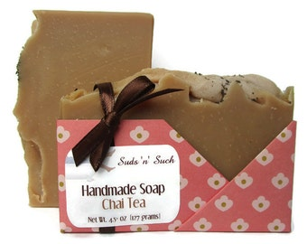 Chai Tea Soap - Handmade with Real Chai Tea - Phthalate Free Fragrance - Vegan Soap - Body Soap - Cold Process - Dye Free - Face Soap