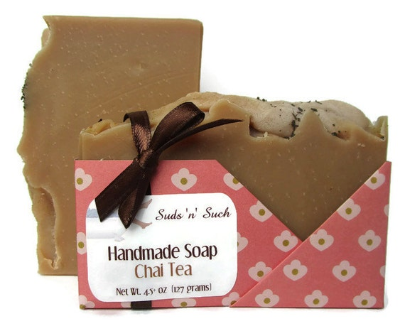 Chai Tea Soap - Gift for Tea Lover -  Made with Real Chai Tea - Phthalate Free - Vegan Soap - Body Soap - Cold Process - Dye Free