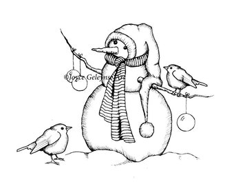 Snowman Digital Stamp, Snowman Clipart, Freehand Drawing, Winter, Christmas, Holiday Clipart, Commercial Use, Birds, Snow, Instant Download