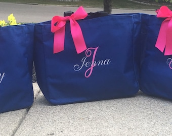 Monogrammed Personalized Bridal Party Tote Bags Gifts Bridesmaid Bride -Set of 5 - blue and pink black purple grey gold