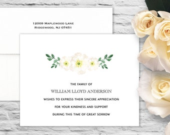 Peaceful Flowers Sympathy Flat Card with Printed Envelope - White