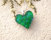 Small Emerald Heart, Green Necklace, Dichroic Pendant, Fused Glass Jewelry, Dichroic Jewelry,Silver Necklace, Glass Jewelry, 0141616p100