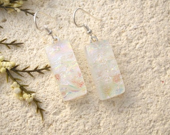 Dichroic Earrings, White Earrings, Dangle Drop Earrings, Dichroic Glass Earrings, Fused Glass Jewelry, White Opal Glass, 050616e101