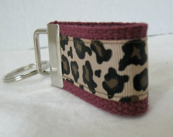 Mini Key Fob -Leopard Key Chain - MAROON - Animal Print Key Chain - Cheetah Zipper Pull -Maroon Cheetah Key Ring - Small Keychain