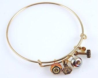 Trendy Bangle Bracelet - - Steampunk - GOLD