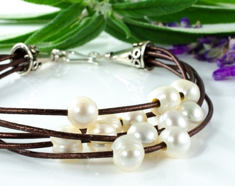 Leather and Pearl Bracelet with Sterling Silver Hook Closure