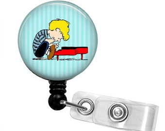 SCHROEDER PLAYING PIANO Peanuts Gang Retractable Badge Reel