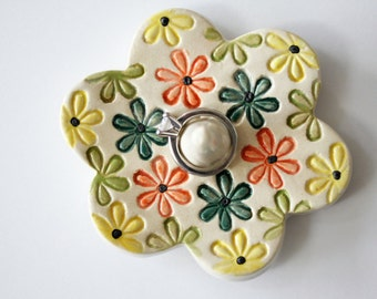 Flower Power Ring Dish, Ready to ship,  Ring Holder Flower Dish