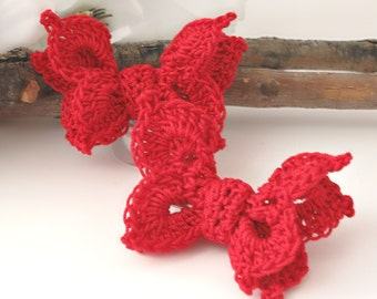 "Crochet Butterfly Hair Clips, Red Cottage Chic Lace Hair Clips for Girls, Women, 2 1/2"" Hair Clip Accessories, Set of 2"