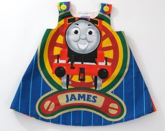 James from Thomas the Tank Engine Toddler Girls Dress Size 18 - 24 Months - Cartoon Character Dress, Railway Locomotive Train Engineer Dress