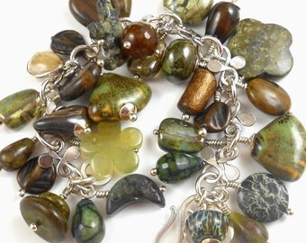 Woodland Charm Bracelet Sterling Handmade Chain - Bear Bird Gemstone Ceramic  Moss  Rainforest 8 inches (20.3cm)