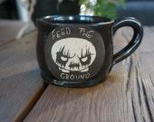 Evil Deathling Handthrown sgrafitto Coffee Mug