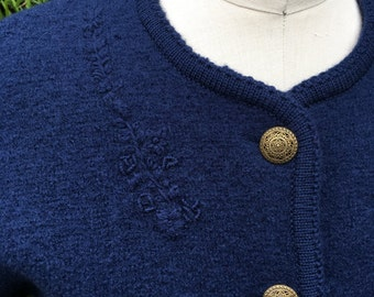 Vintage Pendleton Wool Cardigan Sweater Womens  Navy Blue Petite
