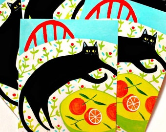 Black Cat and Oranges POSTCARDS cute cat stationery note cards pack of 5 Cat folk art by Tascha