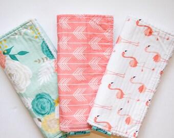 Baby girl burp cloths - girl burp cloth set  -Burp cloths - flower burp cloths - Floral burp cloths - baby girl baby shower gift set -Finney