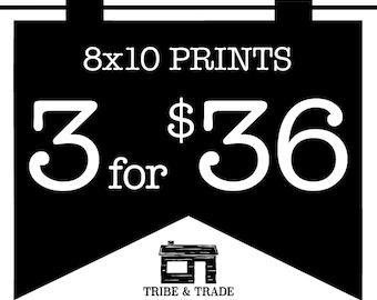 "Print Bundle : Pick Any 3 8x10"" Prints -- Wall Art / Art Prints / Christmas Gifts / Typography / Wall Decor / Quote Prints / Canvas Print"