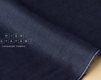 Japanese Fabric 100% brushed linen - navy blue -  50cm