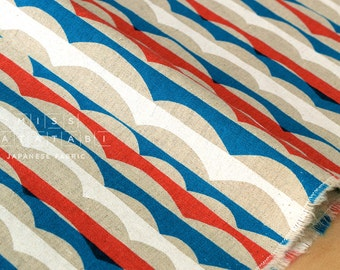 Japanese Fabric - Waves canvas - red, blue, white - 50cm