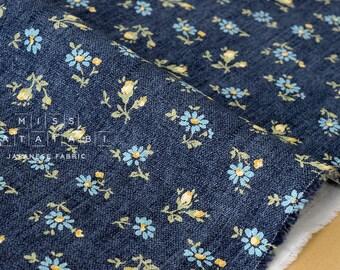 Japanese Fabric - Yuwa Daisy and Rose - denim blue - 50cm
